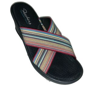 Skechers Rasta Stripe Wedge Sandals Womens Size 9